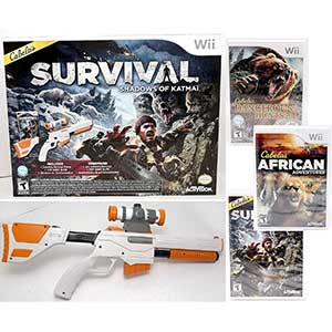 Cabela's 3 game Bundle Wii Hunting Games   Gun Included